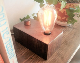 First Class!  Solid black walnut table lamp.  BUILT-IN DIMMER switch and an Edison style old world bulb.