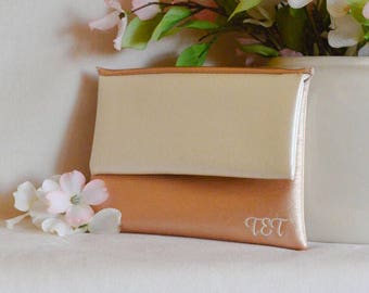 Rose gold bridesmaid clutch - monogram clutch - personalized bridesmaid gift - ivory clutch - wedding handbag - color block fold over clutch