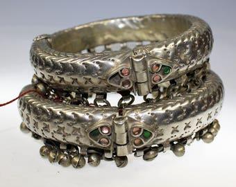 Tribal Anklet, Tribal Upper Arm Bracelet, Vintage Kuchi Tribal Anklet with Hinge and Bells, Vintage Upper Arm Bracelet, Tribal Fusion
