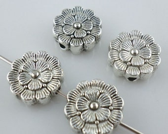 16/130pcs Tibetan silver Oblate Flower Spacer Beads 12mm