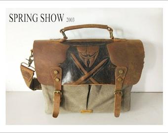 """Mens Leather Briefcase-Canvas shoulder bag-Crossbody bag messenger-V forVendetta-Camera bag-Canvas messenger - Canvas bag men-13""""laptop bag"""