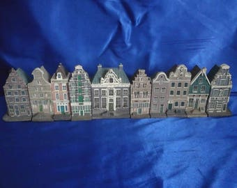 Collectable Set of 10 Amsterdam Canal Houses Handpainted