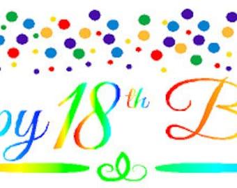 Happy 18th Birthday Rainbow Wall Decoration Party Banner