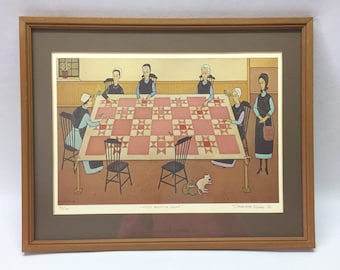 Constantine Kermes 1982 Signed and Numbered 'Amish Quilting Group' Print / Framed and matted with glass / #425/900.