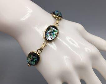 Iridescent Foiled Bubble Glass Link Bracelet - Vintage 1960s Faux Black Opal Glass Cabochons, Colorful Scarab Style Bracelet