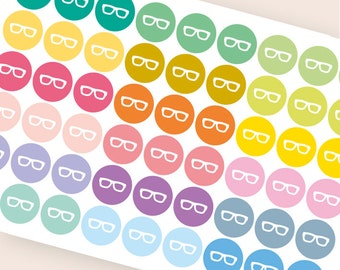 54 nerd glasses sticker, hipster stickers, geek stickers, planner stickers, eyeglasses reminder, eclp filofax happy planner kikkik