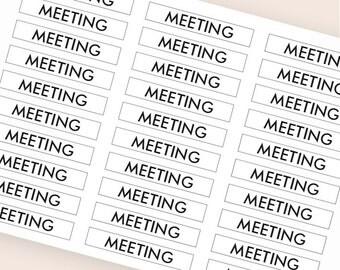 30 black meeting sticker, header sticker, transparent clear sticker, planner stickers appointment stickers eclp filofax happy planner kikkik