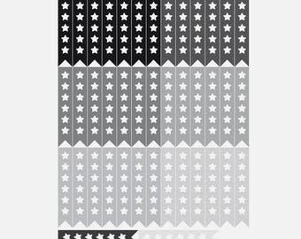 43 neutral flag stickers with star, planner stickers, black gray scrapbook sticker, reminder checklist sticker eclp filofax happy planner