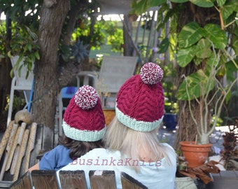 Mommy and me beanies, red knitted beanie, matching beanies, matching hats, christmas gift, winter hats, mommy and me, dark red beanies, gift
