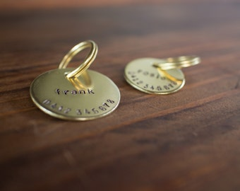 Lowercase Personalized Hand Stamped Brass Dog Tag // Custom Pet ID - Dog ID Tag - Dog Collar Name Tag - Cat ID Tag - Metal Pet Tag