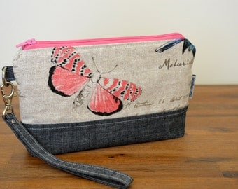 Wristlet wallet for iPhone, smart phone wallet, zippered pouch, butterfly