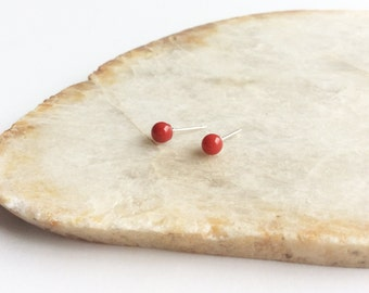 Red Coral Earrings 4mm, Red Coral Jewelry, Red Stud Earrings, Coral Earrings, 4mm Coral Stud Earrings, Coral Jewelry, Red Stone Studs,GSE33