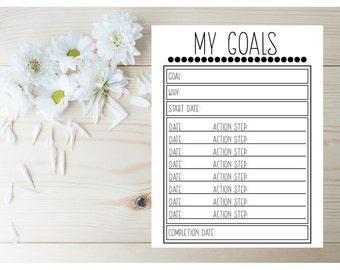 2017 Planner Insert - Daily Planner 2017 - Printable Planner Page 2017 - Monthly Planner 2017 - Day Planner Page - Goal Planner - Goal Sheet