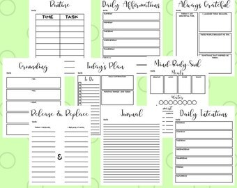 2017 2018 Planner - Printable Planner Pages - Day Planner 2017 - Printable 2017 Calendar - Mindfulness Planner - Planner Inserts PDF