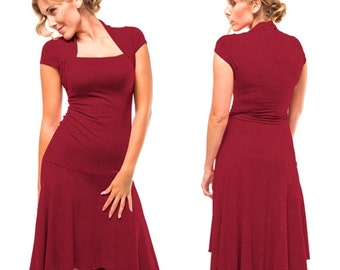 Dark Red Bamboo Cotton Knit Valentine Dress