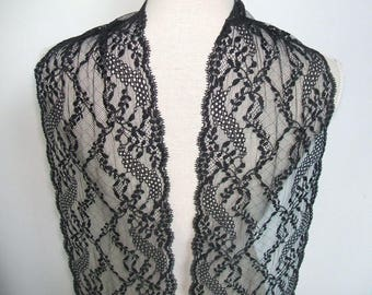 "RESERVED 3 yards black  french lace trim (N123)/ 7.5"" wide stretch lace trim by the yard"