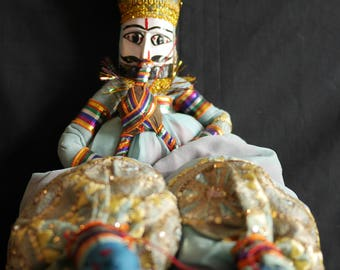 Rajasthani Puppet/Doll (musician / blue)
