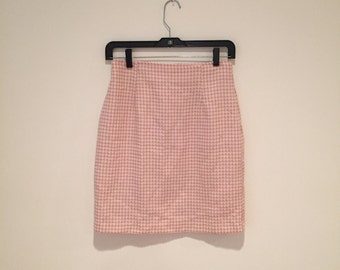 30% OFF SALE - Vintage Gingham Pink & White Skirt 90s 80s
