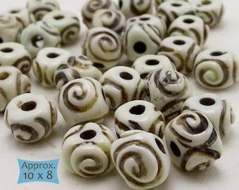 Creamy White Carved Bone Rondelle Beads—10 Pcs | 20-BN311-10