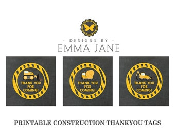 Printable Construction Birthday Thank You Tags, Party Printables, Instant Download, Construction Party Decorations, 1st 2nd 3rd 4th Birthday