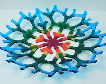 "A large fused glass bowl for fruits ""Rainbow Snowflake"""