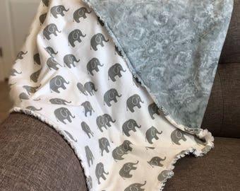 Flannel Elephant receiving blanket.