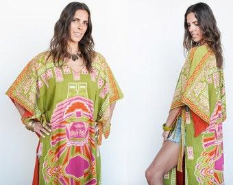 Sale 40% Off VTG 1970's   Colorful   African   Dashiki   Cotton   Apron Dress   Ethnic   Boho   M/L