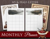 Printable Monthly Planner, Planner Inserts | WONDERLAND EXPRESS | A5 Filofax, Half-Letter organizer | Monthly view, Divider & Notes pages