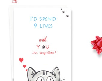 Cat Card Lover- Handcrafted Illustration - Cat Card - I'd Spend 9 Lives with You - Valentines card for Cat Lover