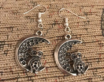 Owl and moon silver dangly earrings