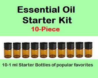 Essential Oil Starter Kit 10-Piece ~ Popular Favorites ~ A Great way to start your Essential Oils Collection ~ 1 ml ea. fits our EO Necklace