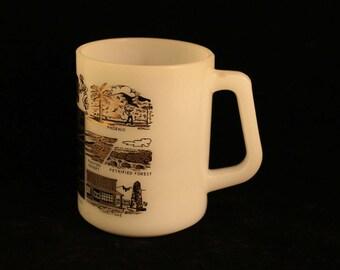 Vintage Arizona Mug Travel Souvenir Federal Milk Glass Gold Trim Cup Coffee Tea Grand Canyon State Phoenix