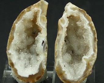 Sparkling 'Agate Pot' Geode, Matching polished halves, Brazil.  Mineral Specimen for Sale