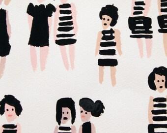 Alexander Henry Fabrics - Boardwalk - Summer Stripes - Natural/Black - Fabric By the Half Yard