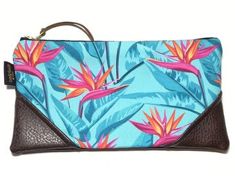 Large Bold Turquoise Bird of Paradise Zipper Pouch / Clutch with inside lining and Suede Zipper Pull or Leather Wristlet Strap