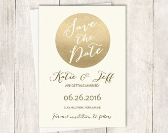 Gold Save The Date / Metallic Gold and Cream / Champagne Gold ▷ Printed Wedding Invitations {or} Printable