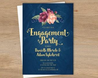 Marsala Engagement Party Invitation / Peonies, Berries, Navy Chalkboard, Blush Ranunculus, Gold ▷ Printed Wedding Invitations {or} Printable