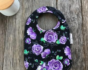 Violet Rose / Bandana Bib / Flower Bib / Colourful Bib / Dribble Bib / Drool Bib / Roses / Flowers / Floral / Thick / Newborn Bib / Toddler