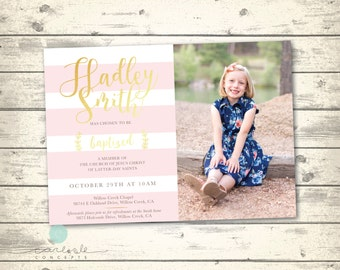 Girl's LDS Baptism Invitation | Striped Blush Pink and Gold LDS Baptism Announcement | Digital Printable