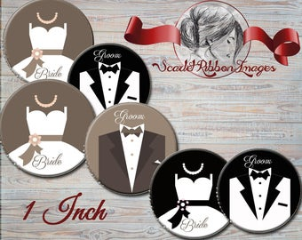 Wedding  Bride and Groom Bottle Cap Image - 1 inch -Set of 15 - 600dpi, Collage Sheet, Flower Girl Bows, Shower Gift Tags, Labels, Pendants