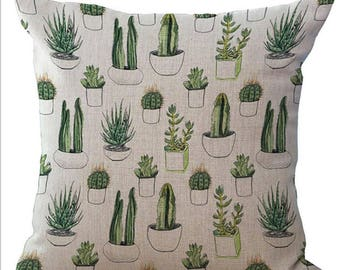 Cactus Print Plant Pillow Cushion Cover Linen Cotton Shabby Chic