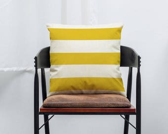 Yellow Stripe Bold Geometric Pillow Cushion Cover Linen Cotton Shabby Chic