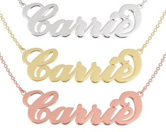 Tiny Sterling silver Name Necklace Sterling Silver Any Name Personalized Carrie Necklace 925