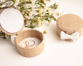 In Burlap, lid so compact, rustic wedding ring bearer box.