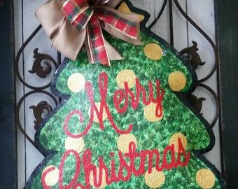 Christmas Tree Burlap Door Hanger with gold ornaments
