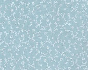 AU MAISON oilcloth Claire Aqua sky blue flower coated cotton 1 m