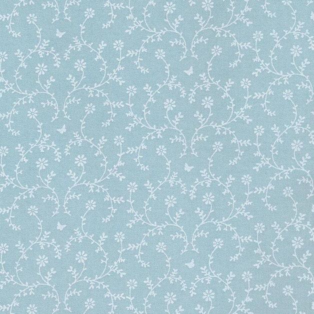 Au maison oilcloth claire aqua sky blue flower coated for Au maison oilcloth uk