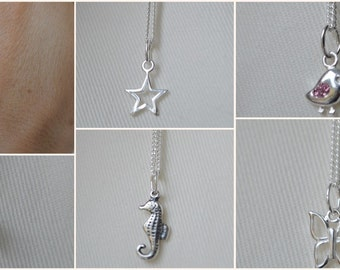 Sterling silver necklace,Troll,sterling silver pendant,Sterling silver Jewellery,Shell necklace,Feather necklace,heart,star,bird,music note
