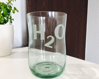 Chinotto Bottle Drinking Glass Etched H2O - Recycled / Upcycled