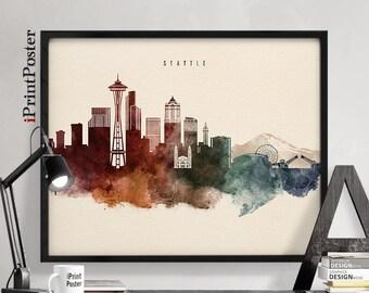 Seattle skyline art, Seattle poster, Seattle art print, Seattle cityscape, wall art, home decor, travel art, Art print, iPrintPoster